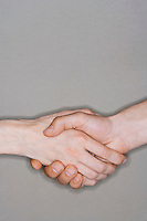 Man and woman shaking hands close-up on hands