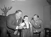 Comedy legends Stan Laurel and Oliver Hardy present cheque on behalf of Premier (DOMAS) to Little Willie Fund. <br />