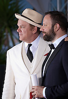 Director Yorgos Lanthimos, winner of the Jury Prize for the film The Lobster with actor John C. Reilly at the Palm D'Or award winners photo call at the 68th Cannes Film Festival Sunday May 24th 2015, Cannes, France.