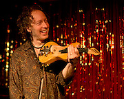 Violinist Tracy Silverman enjoying himself onstage with The Jack Silverman Ordeal, live in Nashville as part of the Nashville Fringe Festival