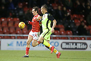 Harry McKirdy for Crewe challenged by Exeter's Kane Wilson during the EFL Sky Bet League 2 match between Crewe Alexandra and Exeter City at Alexandra Stadium, Crewe, England on 20 February 2018. Picture by Graham Holt.
