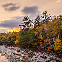 Sunset along the E Branch of the Pemigewasset River, Lincoln Woods, Kancamagus Highway, NH.  All Content is Copyright of Kathie Fife Photography. Downloading, copying and using images without permission is a violation of Copyright.