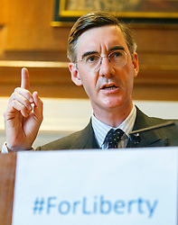 © Licensed to London News Pictures. 17/05/2016. London, UK. Conservative MP JACOB REES-MOGG speaking at a Bruges Group event, focusing on the issues surrounding the European Arrest Warrant at County Hall in London on Tuesday, 17 May 2016. Photo credit: Tolga Akmen/LNP