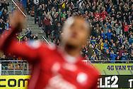 15-10-2016: Voetbal: FC Utrecht v Go Ahead Eagles: Utrecht<br /> <br /> (L-R) Publiek in de Galgenwaard juicht nadat FC Utrecht speler Richairo Zivkovic de 3-0 scoort tijdens het Eredivsie duel tussen FC Utrecht en Go Ahead Eagles op 15 oktober 2016 in stadion Nieuw Galgenwaard tijdens speelronde 9<br /> <br /> Eredivisie - Seizoen 2016 / 2017<br /> <br /> Foto: Gertjan Kooij