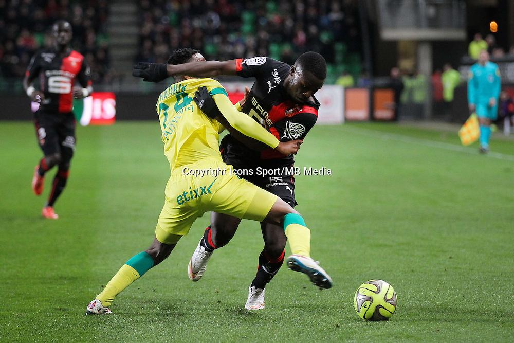 Paul Georges NTEP / Chaker ALHADHUR - 21.03.2015 - Rennes / Nantes - 30eme journee de Ligue 1<br />Photo : Vincent Michel / Icon Sport