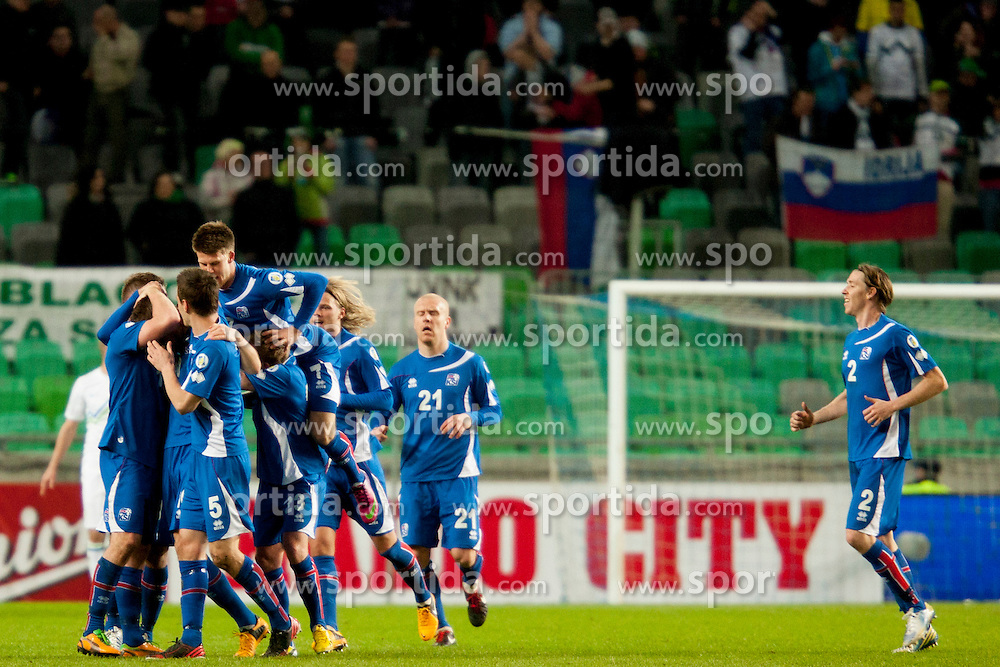 Team Iceland celebrate during football match between National teams of Slovenia and Iceland in Group E of FIFA World Cup 2014 Qualification on March 22, 2013 in SRC Stozice, Ljubljana, Slovenia. (Photo By Urban Urbanc / Sportida).