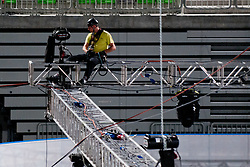 Worker at preparing Ice in Arena Stozice for World Championship Div. I on April 10, 2012 at SRC Stozice, Ljubljana, Slovenia. (Photo By Matic Klansek Velej / Sportida.com)