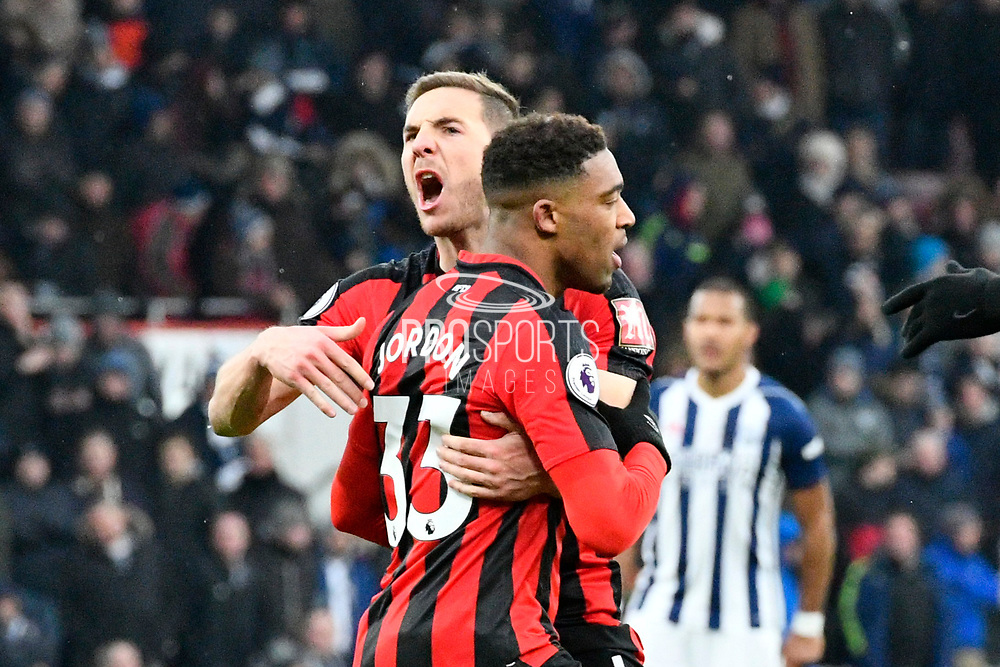 Goal - Jordan Ibe (33) of AFC Bournemouth celebrates scoring a goal to make the score 1-1 with Dan Gosling (4) of AFC Bournemouth during the Premier League match between Bournemouth and West Bromwich Albion at the Vitality Stadium, Bournemouth, England on 17 March 2018. Picture by Graham Hunt.