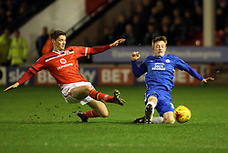 Chris Forrester of Peterborough United and Walsall's George Evans compete for the ball - Mandatory byline: Joe Dent/JMP - 07966 386802 - 28/12/2015 - FOOTBALL - Banks' Stadium - Walsall, England - Walsall v Peterborough United - Sky Bet League One