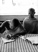 Monks studying.