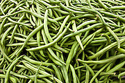 Local produce harricots verts beans at farmers market in Normandy, France