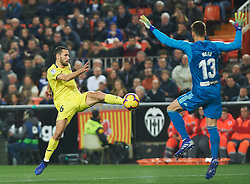 January 26, 2019 - Valencia, Valencia, Spain - Neto Murara of Valencia CF and Alfonso Pedraza of Villarreal CF during the La Liga Santander match between Valencia and Villarreal at Mestalla Stadium on Jenuary 26, 2019 in Valencia, Spain. (Credit Image: © AFP7 via ZUMA Wire)