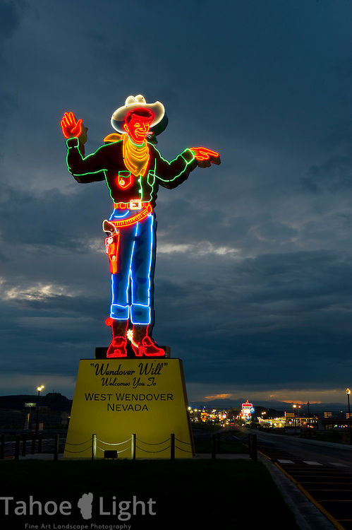 Wendover Will, the neon smoking cowboy statue guarding the entrance to west Wendover on the Nevada, Utah border.(Scott Sady/tahoelight.com)