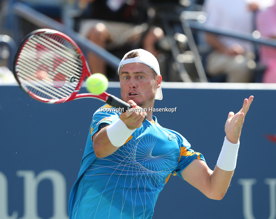 US Open 2013, USTA Billie Jean King National Tennis Center, Flushing Meadows, New York,<br /> ITF Grand Slam Tennis Tournament .<br /> Lleyton Hewitt (AUS),Aktion,Einzelbild,Halbkoerper,Querformat