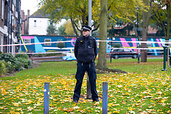 © Licensed to London News Pictures. 06/11/2018. Tulse Hill, UK. Police guard a cordon in Tulse Hill as a murder investigation is launched after a 16 year old boy was found with fatal injuries last night.  Photo credit: Grant Falvey/LNP