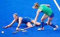 RIO DE JANEIRO (Brazilie) - De dames  van Oranje trainen vanmiddag in het Olympische hockeystadion . Duel tussen Maartje Paumen en Lidewij Welten  COPYRIGHT KOEN SUYK