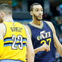10 April 2016: Denver Nuggets center Jusuf Nurkic (23) is seen next to Utah Jazz center Rudy Gobert (27) during the Utah Jazz 100-84 victory over the Denver Nuggets, at the Pepsi Center, Denver, Colorado, USA.
