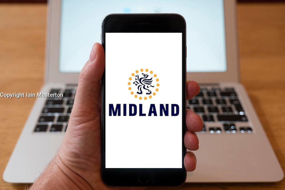 Using iPhone smart phone to display website logo of Midland Bank
