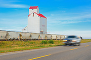 "Grain elevator, train and truck. This is the town of Dog River in TV series ""Corner Gas"".<br /> Rouleau<br /> Saskatchewan<br /> Canada"