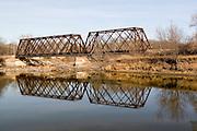 Minnesota USA, An old metal railroad bridge