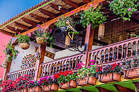 colorful traditional house of  Villa de Leyva Boyaca in Colombia South America