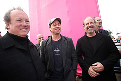 Dec 03 2007. New Orleans, Louisiana. Lower 9th Ward.<br /> Brad Pitt revisits the Lower 9th ward, devastated by Hurricane Katrina to present 'Make it Right' where architects' designs are unveiled to the public. Brad mingles with some of the winning design architects backstage. Photo credit; Charlie Varley.