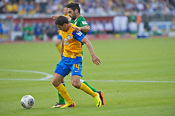 10.08.2013, Eintracht Stadion, Braunschweig, GER, 1. FBL, Eintracht Braunschweig vs SV Werder Bremen, 1. Runde, im Bild Mehmet Ekici (SV Werder Bremen #10) im Zweikampf mit Omar Elabdellaoui (Eintracht Braunschweig #14)  during the German Bundesliga 1st round match between Eintracht Braunschweig and SV Werder Bremen at the Eintracht stadium, Braunschweig, Germany on 2013/08/10. EXPA Pictures © 2013, PhotoCredit: EXPA/ Andreas Gumz <br /> <br /> *****ATTENTION - OUT OF GER*****