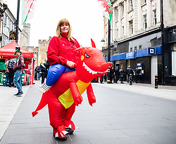 A Wales fand enjoying the pre match atmosphere<br /> <br /> Photographer Simon King/Replay Images<br /> <br /> Six Nations Round 5 - Wales v Ireland - Saturday 16th March 2019 - Principality Stadium - Cardiff<br /> <br /> World Copyright © Replay Images . All rights reserved. info@replayimages.co.uk - http://replayimages.co.uk