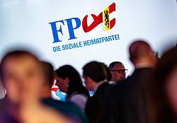 22.04.2018, Salzburg, AUT, Salzburger Landtagswahl, Wahlparty, im Bild das Logo der FPÖ // during the election party of FPÖ for the state election 2018 at the Salzburg, Austria on 2018/04/22. EXPA Pictures © 2018, PhotoCredit: EXPA/ JFK