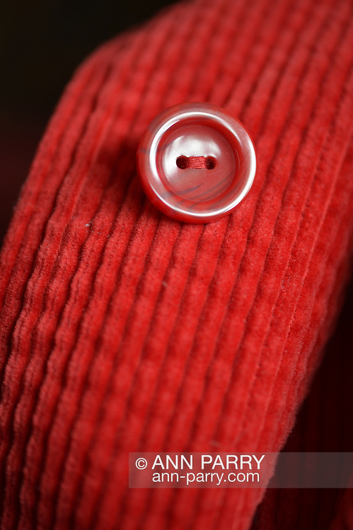 red button on red corduroy coat, macro shot