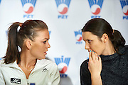 (L-R) Agnieszka Radwanska and Klauda Jans Ignacik talk during press conference of Polish Tennis Association before Fed Cup match at National Stadium in Warsaw, Poland.<br /> <br /> Poland, Warsaw, December 15, 2014<br /> <br /> Picture also available in RAW (NEF) or TIFF format on special request.<br /> <br /> For editorial use only. Any commercial or promotional use requires permission.<br /> <br /> Mandatory credit:<br /> Photo by &copy; Adam Nurkiewicz / Mediasport