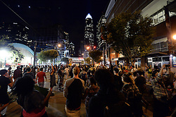 September 21, 2016 - Charlotte, NC, USA - Protestors march up Trade Street in Charlotte, N.C., on Wednesday, Sept. 21, 2016. The protestors were rallying against the fatal shooting of Keith Lamont Scott by police on Tuesday evening in the University City area. (Credit Image: © Jeff Siner/TNS via ZUMA Wire)