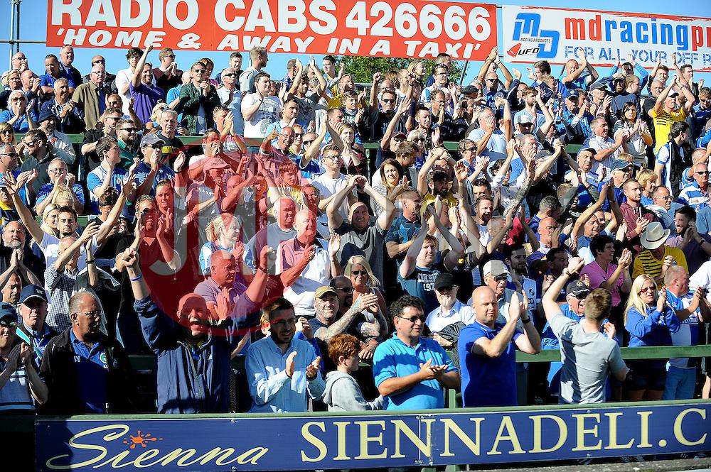 Bristol Rovers fans celebrate  - Mandatory byline: Neil Brookman/JMP - 07966386802 - 15/08/2015 - FOOTBALL - Huish Park -Yeovil,England - Yeovi Town v Bristol Rovers - Sky Bet League One