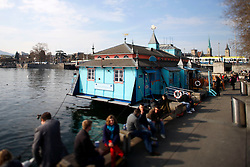 SWITZERLAND ZURICH 3MAR12 - Herzbaracke floating theatre and restaurant moored at Lake Zurich in Zurich, Switzerland. ....jre/Photo by Jiri Rezac....© Jiri Rezac 2012