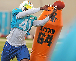 August 28, 2017 - USA - Miami Dolphins' Bryon Maxwell (41) misses a pass during a drill on Monday, Aug. 28, 2017 at the Miami Dolphins training facility in Davie, Fla. (Credit Image: © Charles Trainor Jr/TNS via ZUMA Wire)