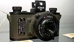 "Kodak Signal Corps of the US Army camera. The label on this camera shows that this one was specially made for the Philadelphia base...<br /> <br /> November 18, 2011 - Philadelphia, PA; An impressive collection of more than 350 old cameras will be put up for auction on Saturday, Nov. 19, 2011 at Fuller's Fine Art Auctions in Philadelphia, PA.<br /> <br /> ( A selection of photos from this collection are published with the Nov 18, 2011 article by Alan Tu on WHYY's NewsWorks.org: ""Vintage cameras to be auctioned off Saturday by Mt. Airy auction house"" - You can read the article here: http://www.newsworks.org/index.php/local//mt-airychestnut-hill/30073-vintage-cameras-to-be-auctioned-off-saturday-by-mt-airy-auction-house )<br /> <br /> The cameras were collected by Edward Kaprelian (1913-1997), who after WWII became an expert on camera and lens technology. In May 1945, the U.S. Army seized more than 2,000 Carl Zeiss lenses from Germany as ""war reparations"" and turned them over to Kaprelian, who was then serving as Chief of the U.S. Army Signal Corps Engineering Labs in Fort Monmouth, N.J. <br /> <br /> Kaprelian went on to become an avid collector of photographic equipment and materials during his lifetime and amassed a large collection of important cameras spanning the history of photography."