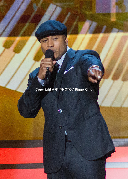 Host LL Cool J speaks onstage during a concert, Stevie Wonder: Songs In The Key Of Life - An All-Star GRAMMY Salute, at Nokia Theatre L.A. Live on February 10, 2015 in Los Angeles, California. AFP PHOTO / Ringo Chiu