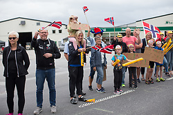 Spectators welcome the race on Stage 1 of the Ladies Tour of Norway - a 101.5 km road race, between Halden and Mysen on August 18, 2017, in Ostfold, Norway. (Photo by Balint Hamvas/Velofocus.com)