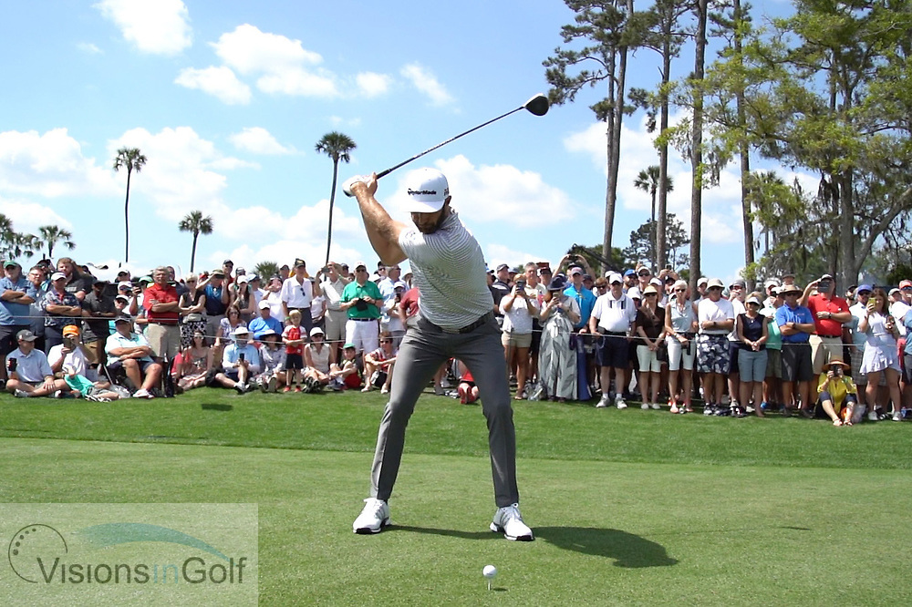 Dustin Johnson<br /> with driver face on<br /> High speed swing sequence<br /> 2019<br /> <br /> Pictures Credit: Mark Newcombe/visionsingolf.com