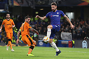 Olivier Giroud of Chelsea (18) trying to control the ball in the box during the Champions League group stage match between Chelsea and PAOK Salonica at Stamford Bridge, London, England on 29 November 2018.