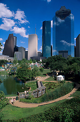 Stock photo of the Houston skyline featuring the International Festival in Sam Houston Park