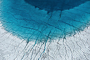 Meltwater pools in a low area of the Greenland ice sheet, 100km southeast of Ilulissat, August, 2014.