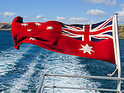 In South Australia, the Kangaroo Island ferry flies the Australian Red Ensign (flown by Australian-registered boats/ships). In contrast, the National Flag of Australia has been dark blue since 1953. (Prior to 1953, Australia used both the red and blue versions as the national flag.)