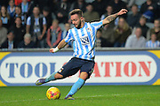 Coventry City striker Adam Armstrong shoots during the Sky Bet League 1 match between Coventry City and Peterborough United at the Ricoh Arena, Coventry, England on 31 October 2015. Photo by Alan Franklin.