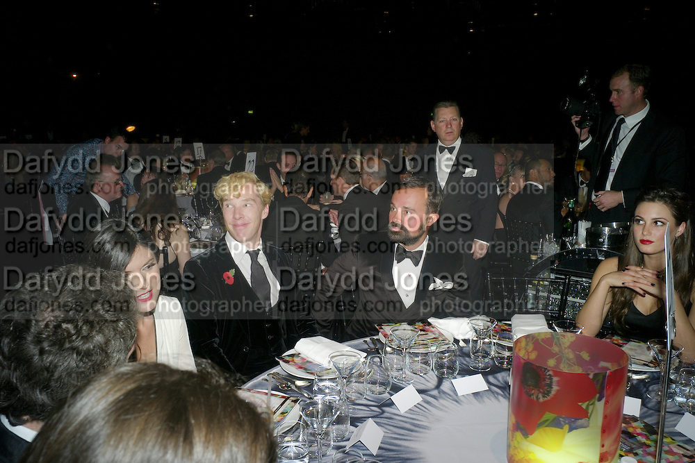 ANNA JONES; BENEDICT CUMBERBATCH; EVGENY LEBEDEV, Grey Goose Winter Ball to Benefit the Elton John AIDS Foundation. Battersea park. London. 29 October 2011. <br /> <br />  , -DO NOT ARCHIVE-© Copyright Photograph by Dafydd Jones. 248 Clapham Rd. London SW9 0PZ. Tel 0207 820 0771. www.dafjones.com.