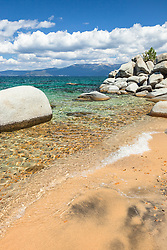 """Whale Beach, Lake Tahoe 1"" - Photograph of a sandy shoreline and boulders at Whale Beach on the East Shore of Lake Tahoe."