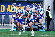 The Warriors run out on to Bankwest stadium in support of Beanies for Brain Cancer. Parramatta Eels v Vodafone Warriors. NRL Rugby League. Bankwest Stadium, Sydney, Australia. 27th July 2019. Copyright Photo: David Neilson / www.photosport.nz