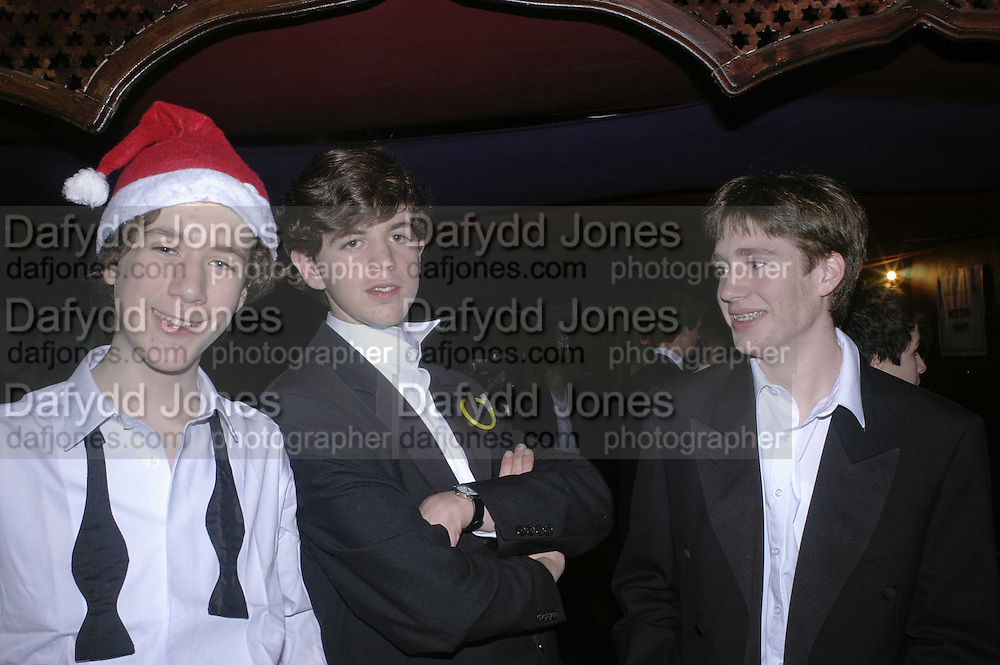 Jamie Palmer, Jack Roxburghe and Tom Meier,  Feathers Ball in aid of the Feathers Clubs. Hammersmith Palais. London. 18 December 2006. ONE TIME USE ONLY - DO NOT ARCHIVE  © Copyright Photograph by Dafydd Jones 248 CLAPHAM PARK RD. LONDON SW90PZ.  Tel 020 7733 0108 www.dafjones.com
