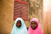 Two girls pose for a portrait after being vaccinated against meningitis at a MSF vaccination site in the village of Soura Aladay near Maradi, Niger on Friday April 17, 2009.