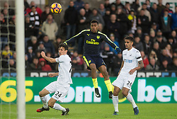 SWANSEA, WALES - Saturday, January 14, 2017: Arsenal's Alex Iwobi goal against Swansea City during the FA Premier League match at the Liberty Stadium. (Pic by Gwenno Davies/Propaganda)